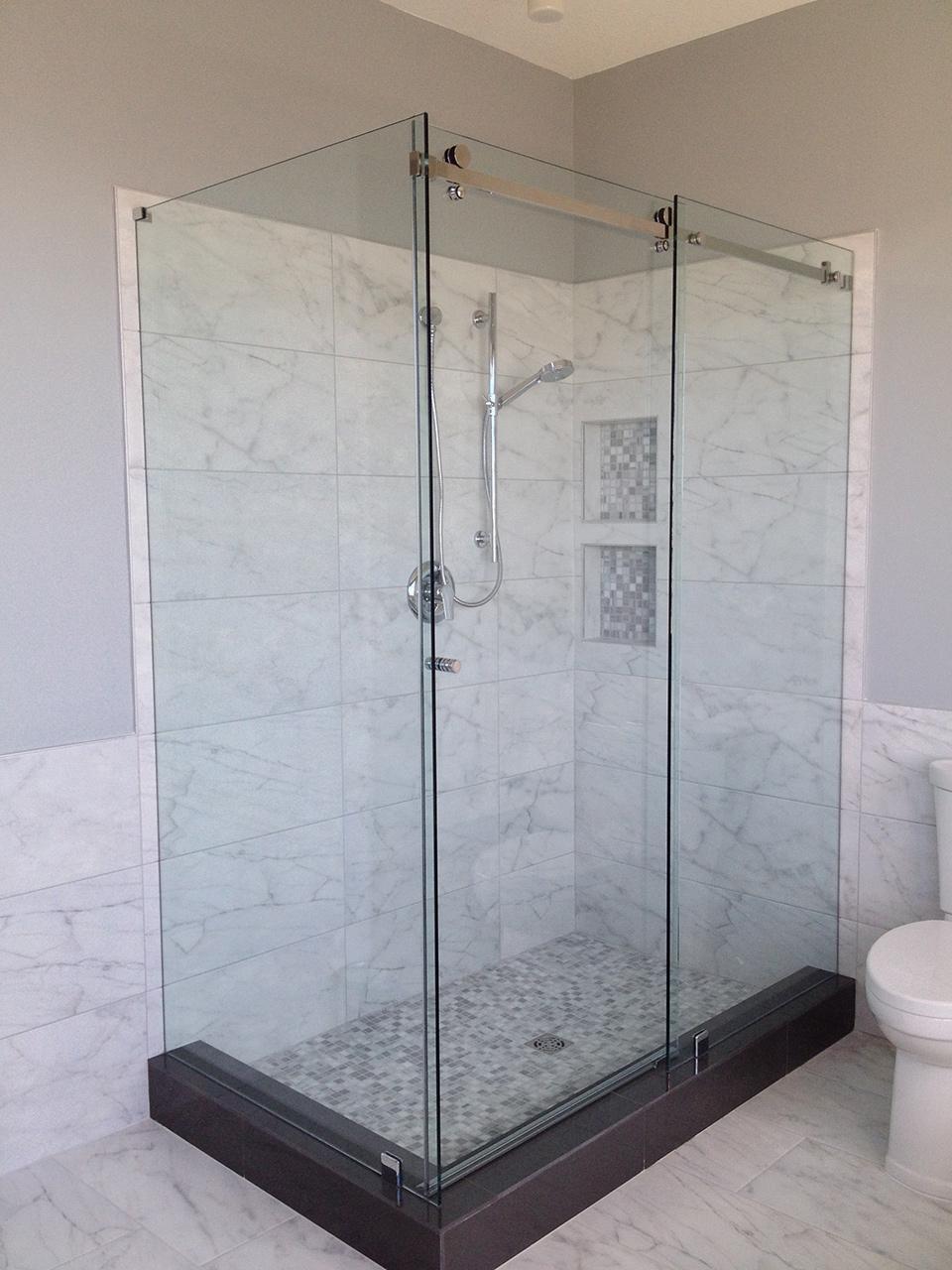 Funky Double Shower Doors Crest Bathtub Ideas
