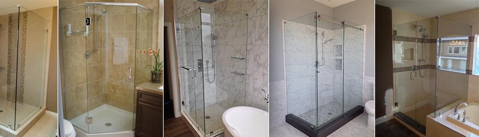 Framed and frameless shower door in Vancouver, Burnaby, glass railings